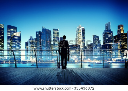 businessman cityscape skyline...
