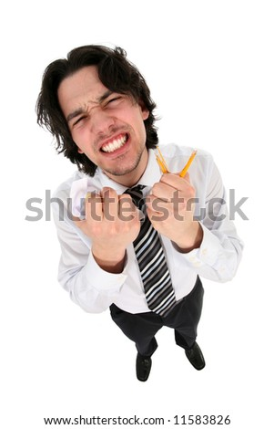 Businessman clenching his teeth in anger