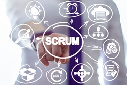Businessman clicks a scrum word button on a virtual panel. Scrum Development Process Business concept. Scheme of Agile Methodology.