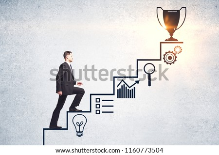 Businessman climbing creative steps and award sketch on concrete wall background. Success and leadership concept  #1160773504