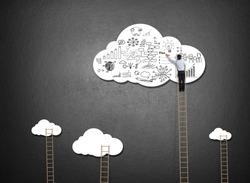 Businessman climbing ladder drawing idea on cloud