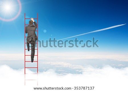 Businessman climbing ladder on blue sky background, rear view