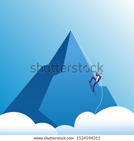 Businessman climbing mountain. Challenge, perseverance and personal growth, effort in career. Business motivation concept