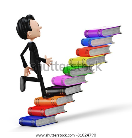 businessman climbing the books back view