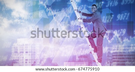 Businessman climbing up ladder against stocks and shares