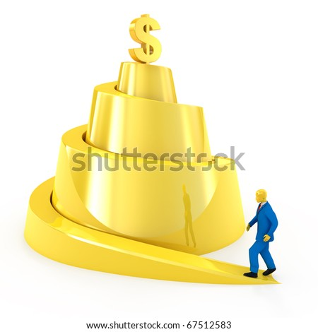 Businessman climbs up for money success concept isolated on white