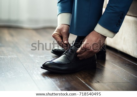 businessman clothes shoes, man getting ready for work,groom morning before wedding ceremony