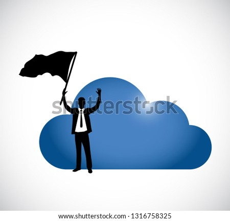 businessman cloud computing success icon illustration isolated over a white background