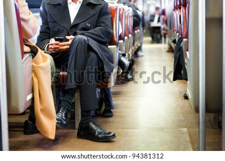 Businessman commuting on a train