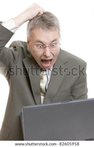 Businessman computer virus bug crash