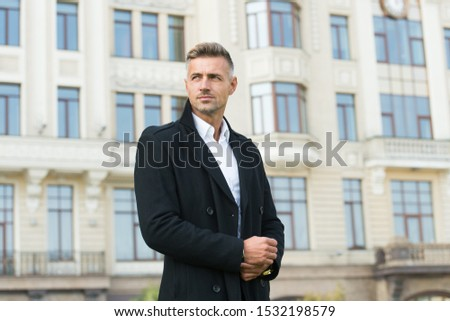 Businessman concept. Facial care and ageing. Traits and behaviors that make men more appealing. Attractive mature man. Mature guy with grey hair and bristle. Men get more attractive with age.