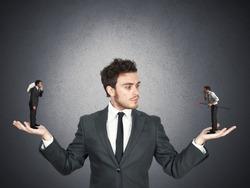 Businessman confused between being good or bad
