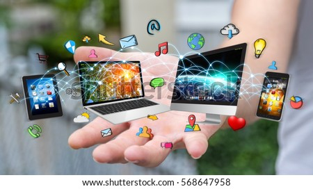 Businessman connected tech devices and icons applications with each other 3D rendering