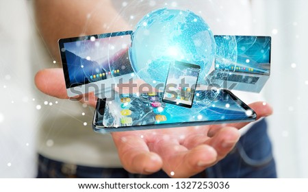 Businessman connecting tech devices and icons applications with each other 3D rendering #1327253036