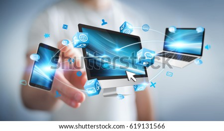 Businessman connecting tech devices and icons applications with each other 3D rendering #619131566