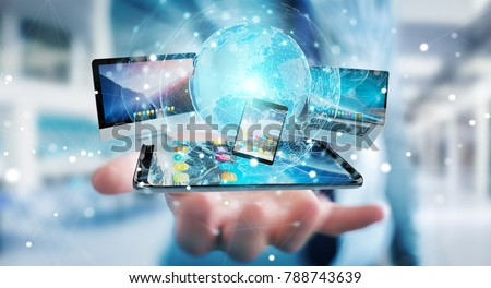 Businessman connecting tech devices and icons applications with each other 3D rendering #788743639