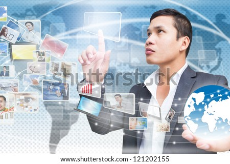 Businessman Connecting to Media Technology