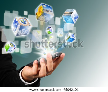 Businessman connection touch screen mobile phone with cubes image flyer