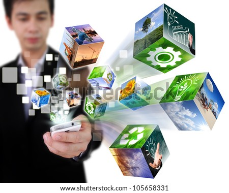 Businessman connection touch screen mobile phone with streaming business cubes image isolated on white background.