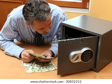 Businessman considers money