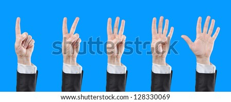 businessman counting hands
