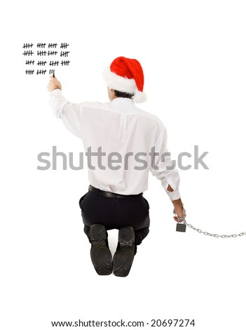 Businessman counting the days until christmas and the holidays - isolated