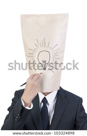 Businessman cover head drawing his face