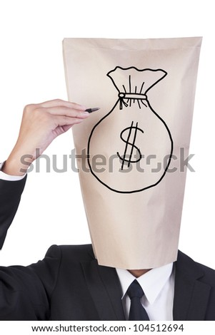 Businessman cover head drawing his face show money bag