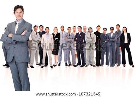 Businessman crossing his arms against a white background