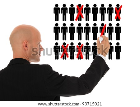 Businessman cutting back jobs. All on white background.