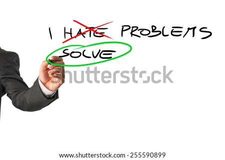 Businessman deciding to face problems and solve them instead of hating them. Conceptual of will power, determination and success.