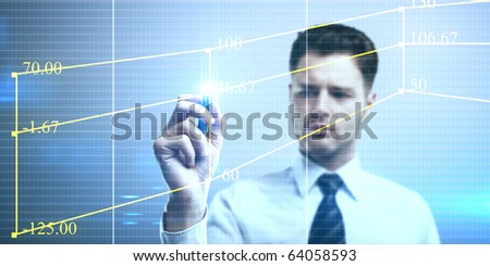 Businessman designing a plan on a touch screen interface