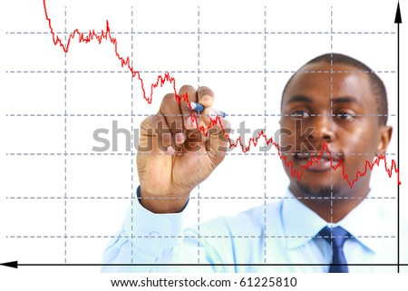 Businessman designing a plan on screen