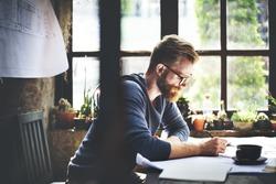 Businessman Determine Ideas Writing Working Concept