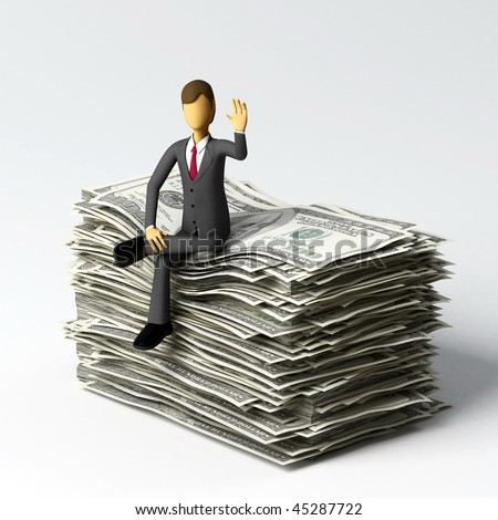 Businessman do a concept of successful, finance business or a person with lots of money