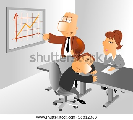 Businessman doing a dull presentation at business conference. Woman is bored, man is sleeping at the table.