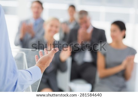 Businessman doing conference presentation in meeting room