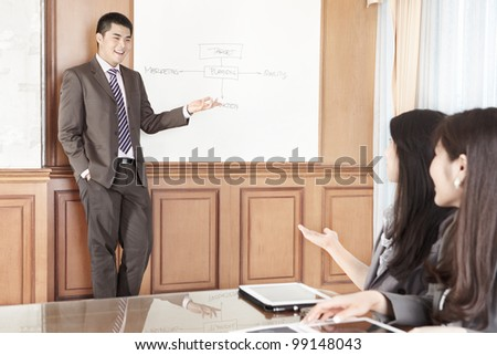 Businessman doing presentation in the office