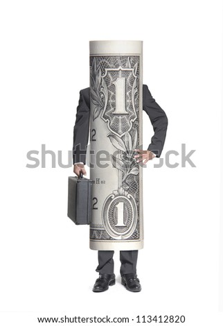 Businessman dollar bill holding a suitcase.