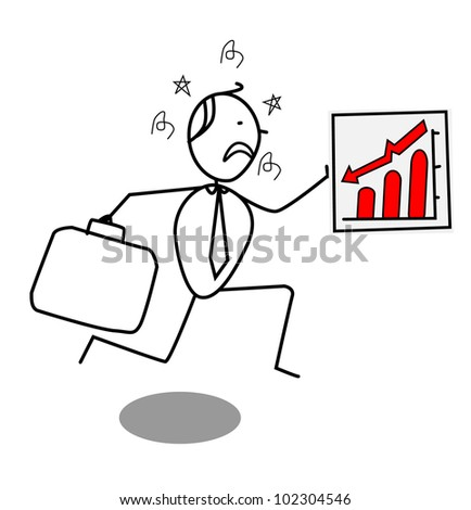 businessman down chart - stock photo