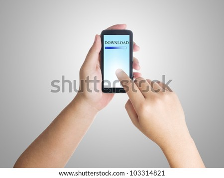 Businessman downloading by using smart phone