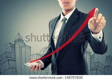 Businessman drag a rising arrow at smartphone, representing business growth, on virtual background.