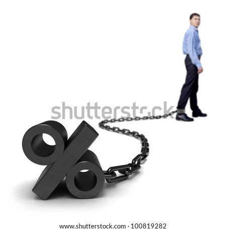 Businessman dragging a percentage sign.