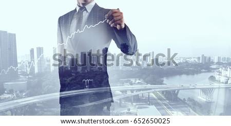 businessman draw on screen