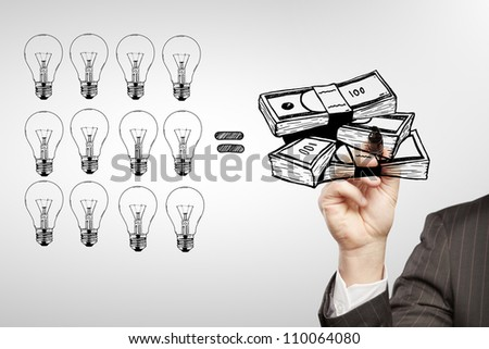 businessman drawing  a cash equity