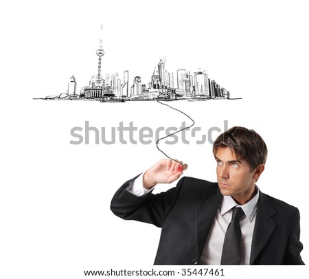 businessman drawing a city illustration
