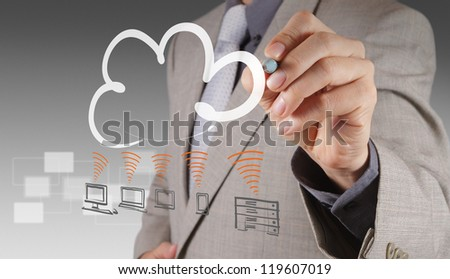 Businessman drawing a Cloud Computing diagram on the new computer interface