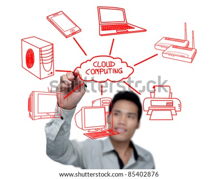 Businessman drawing a Cloud Computing schema on the whiteboard.