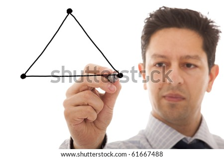businessman drawing a diagram with the balance between three sides from a triangle (copy space to write on the triangle sides) - stock photo