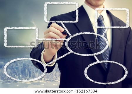 Businessman drawing a flowchat with a big city backdrop